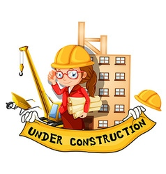 Female engineer and sign under construction vector image