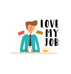 Flat young guy workplace send text message vector