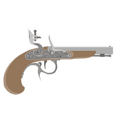 Flintlock vintage pistol gun weapon old white vector