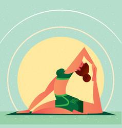 girl in yoga one-leg king pigeon pose vector image