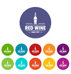 Glass wine icons set color vector