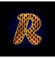 golden and red letter r vector image