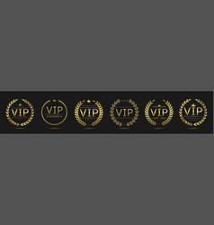 golden vip laurel wreath set vector image