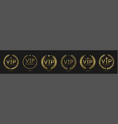 Golden vip laurel wreath set vector