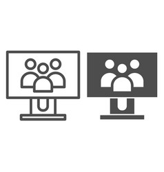 Group of people on monitor screen line and glyph vector