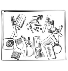 Hand drawn beauty doodles makeup brushes and vector