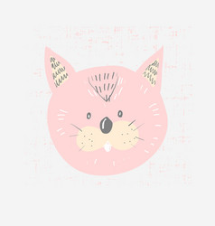 Hand drawn of a cute funny cat vector