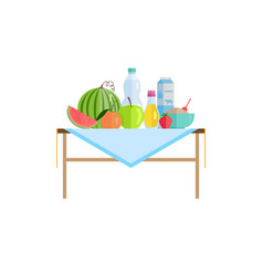healthy food and drinks or milk on table isolated vector image
