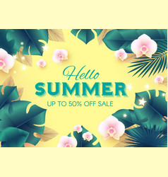 hello summer tropical design template with palm vector image