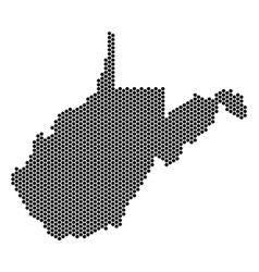 Hex tile west virginia state map vector