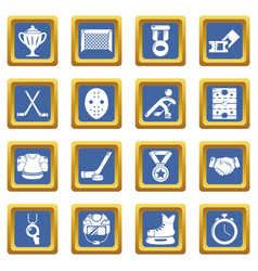 hockey icons set blue square vector image