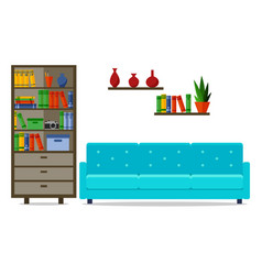 Home interior with sofa for web site print vector