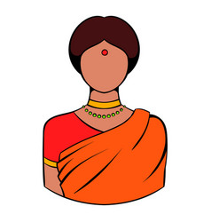 Indian woman in traditional sari icon vector