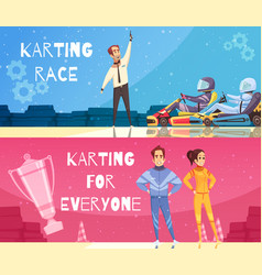 Karting banners set vector