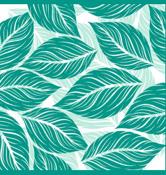 leaf drawing art pattern green colors on a white vector image