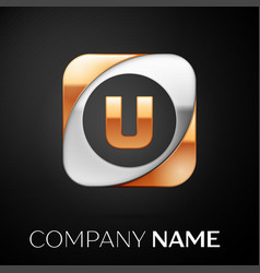 letter u logo symbol in the colorful square on vector image
