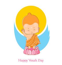 Little buddha birthday vesak day vector