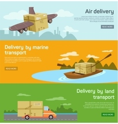 Logistic concept flat banners set of maritime rail vector image