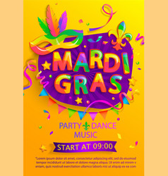 mardi gras flyer with inviting for carnival party vector image