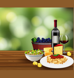 meal with wine scene vector image