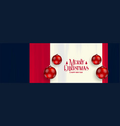 Merry christmas horizontal banner with red vector