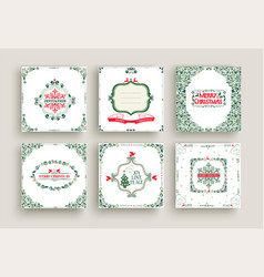 merry christmas vintage design greeting card set vector image