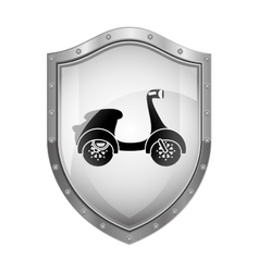 Metallic shield with silhouette scooter vector
