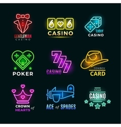 Neon light poker club and casino signs set vector