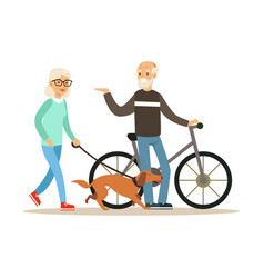 old man standing next to a bike senior woman vector image