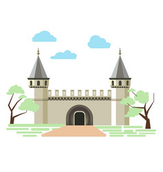path to small ancient brick castle with two towers vector image