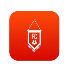 pennant with soccer ball icon digital red vector image