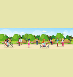 People riding bicycle walking city urban park vector