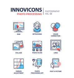 photo processing - line design style icons set vector image