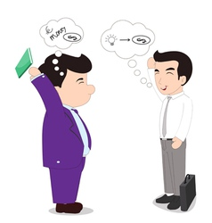 Presentation of ideas with boss to successful vector image