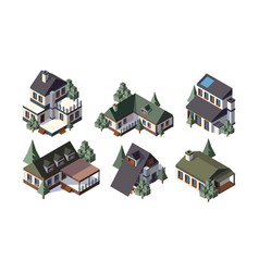 private country houses isometric vector image