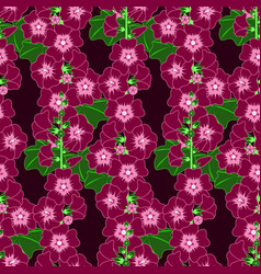 Purple mallow flower seamless pattern vector