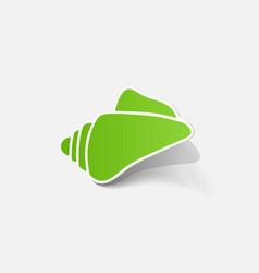 Realistic paper sticker shell vector