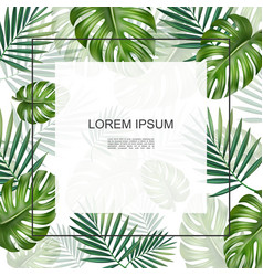 Realistic tropical plants floral card vector