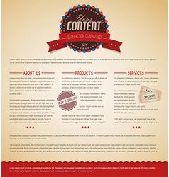 Retro vintage web page template vector