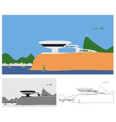 Rio de janeiro landscape colored and outline vector
