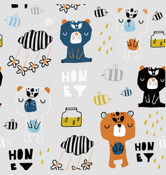 Seamless childish pattern with cute bears honey vector
