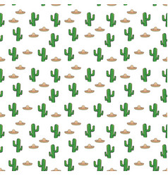 Seamless pattern mexican sombrero hat and cactus vector
