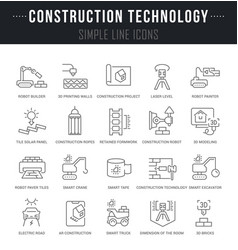 Set line icons construction technology vector