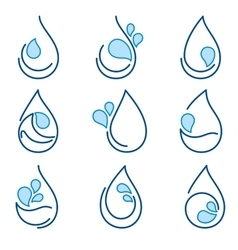Set of water symbol templates emblems signs logo vector