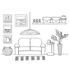 Sketch of living room cozy interior vector