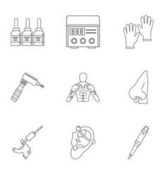 Tattoo salon master icon set outline style vector