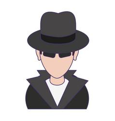Thief hacker avatar symbol blue lines vector