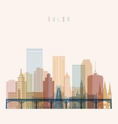 Tulsa state oklahoma skyline detailed silhouette vector
