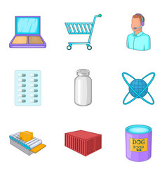 urgent delivery icons set cartoon style vector image