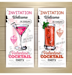 Valentine cocktail party poster Invitation design vector